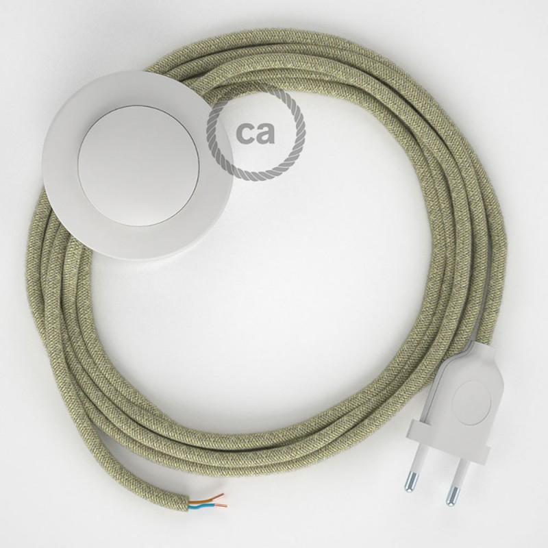 Ledningssæt med fodkontakt, RN01 Naturlig Neutral hør 3 m. Vælg farve på kontakt og stik.
