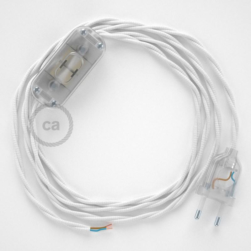Ledningssæt, TM01 Hvid Viskose 1,80 m. Vælg farve på kontakt og stik.