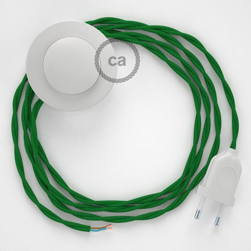 Ledningssæt med fodkontakt, TM06 Grøn viskose 3 m. Vælg farve på kontakt og stik.