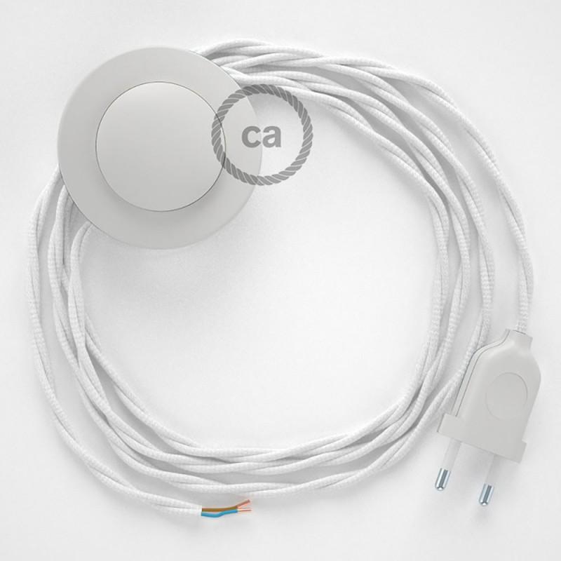 Ledningssæt med fodkontakt, TM01 Hvid viskose 3 m. Vælg farve på kontakt og stik.