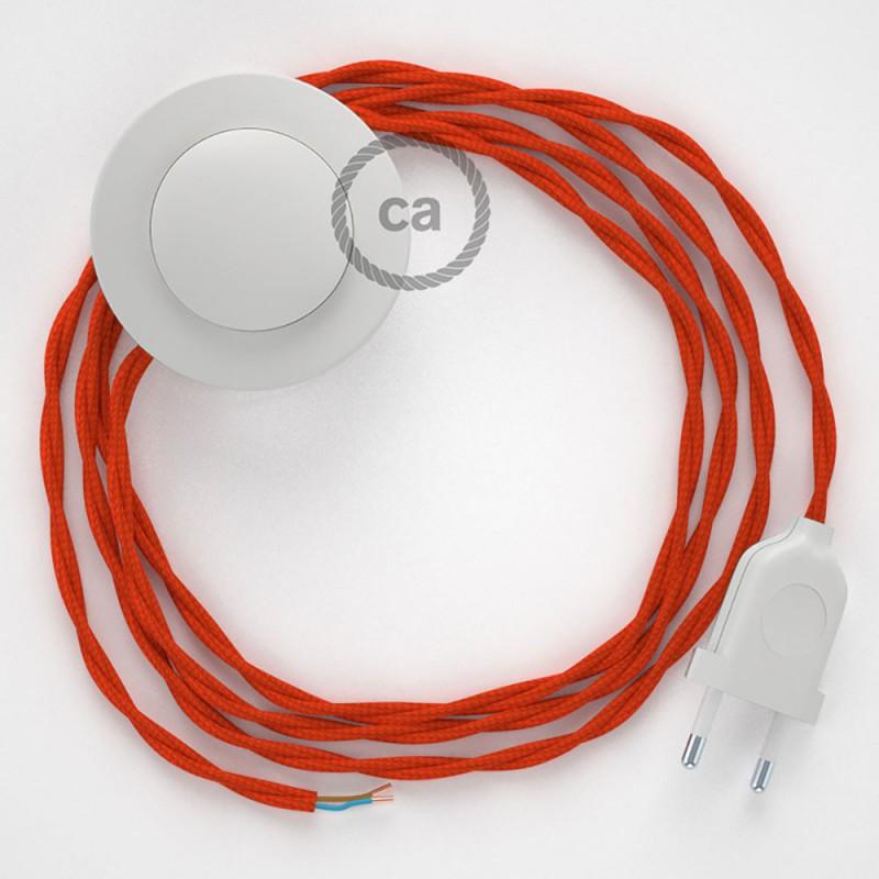 Ledningssæt med fodkontakt, TM15 Orange viskose 3 m. Vælg farve på kontakt og stik.
