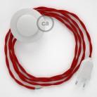 Ledningssæt med fodkontakt, TM09 Rød viskose 3 m. Vælg farve på kontakt og stik.