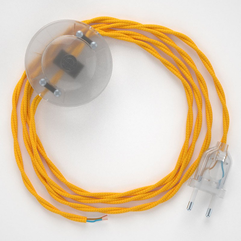 Ledningssæt med fodkontakt, TM10 Gul viskose 3 m. Vælg farve på kontakt og stik.