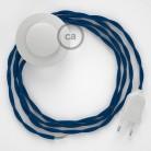 Ledningssæt med fodkontakt, TM12 Blå viskose 3 m. Vælg farve på kontakt og stik.