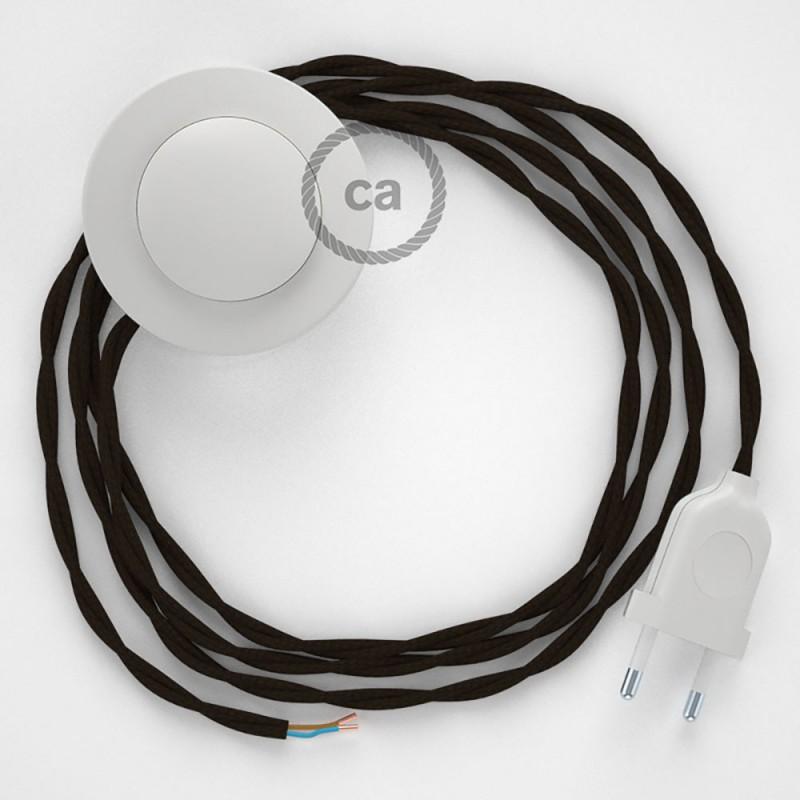 Ledningssæt med fodkontakt, TM13 Brun viskose 3 m. Vælg farve på kontakt og stik.