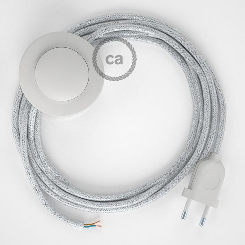 Ledningssæt med fodkontakt, RL01 Glinsende Hvid viskose 3 m. Vælg farve på kontakt og stik.