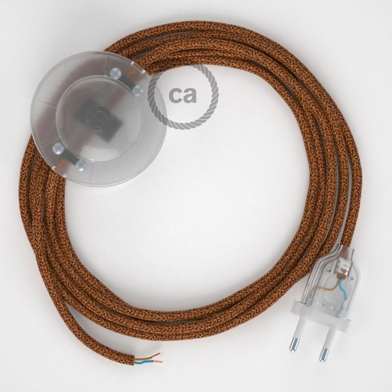 Ledningssæt med fodkontakt, RL22 Glinsende Kobber viskose 3 m. Vælg farve på kontakt og stik.