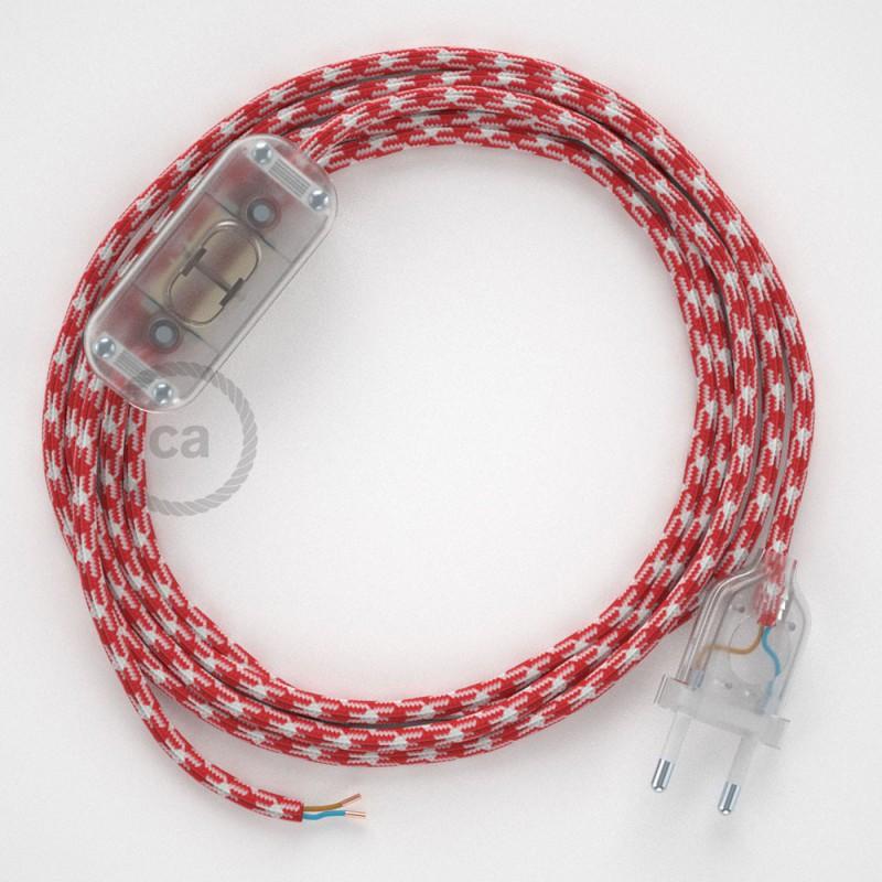 Ledningssæt, RP09 Hvid Rød Tofarvet Viskose 1,80 m. Vælg farve på kontakt og stik.