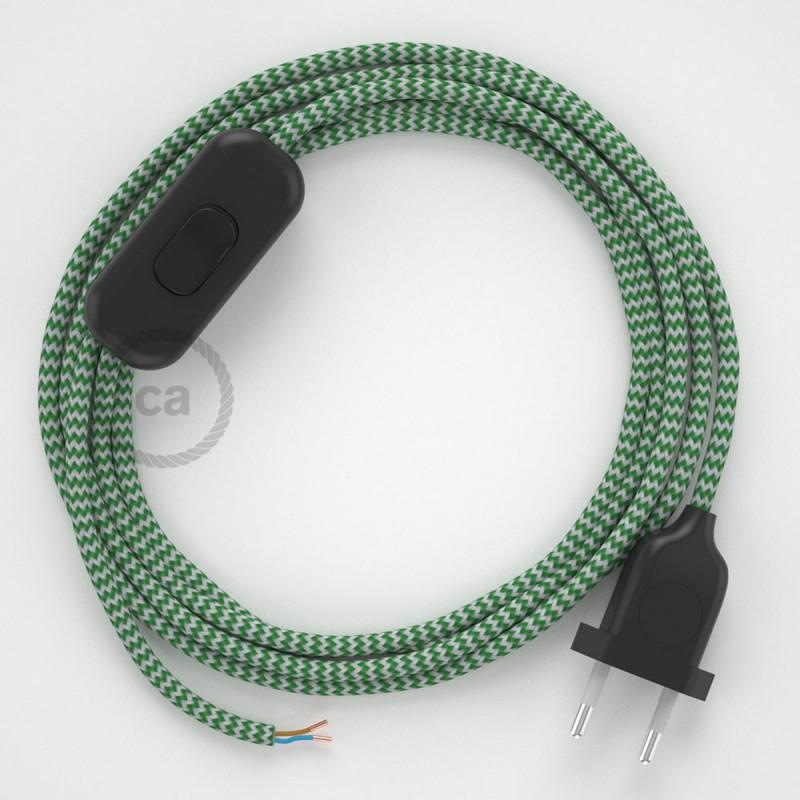 Ledningssæt, RZ06 Grøn ZigZag Viskose 1,80 m. Vælg farve på kontakt og stik.
