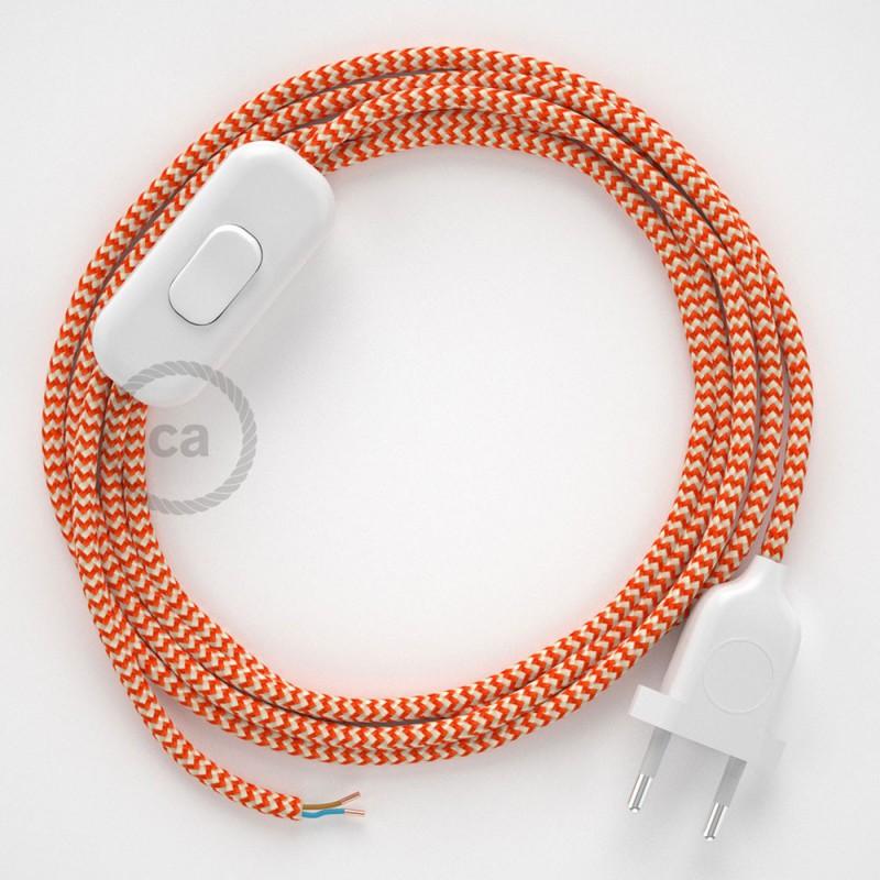 Ledningssæt, RZ15 Orange ZigZag Viskose 1,80 m. Vælg farve på kontakt og stik.