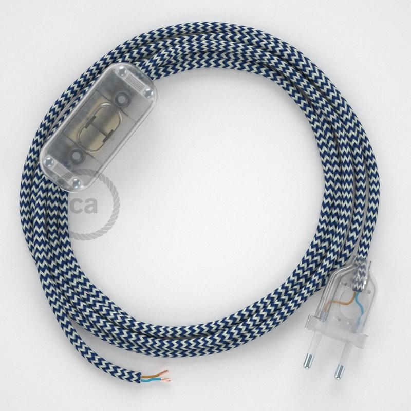 Ledningssæt, RZ12 Blå ZigZag Viskose 1,80 m. Vælg farve på kontakt og stik.