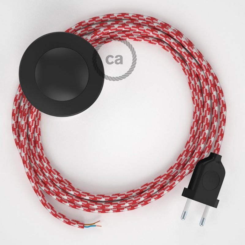 Ledningssæt med fodkontakt, RP09 Hvid-Rød Tofarvet viskose 3 m. Vælg farve på kontakt og stik.