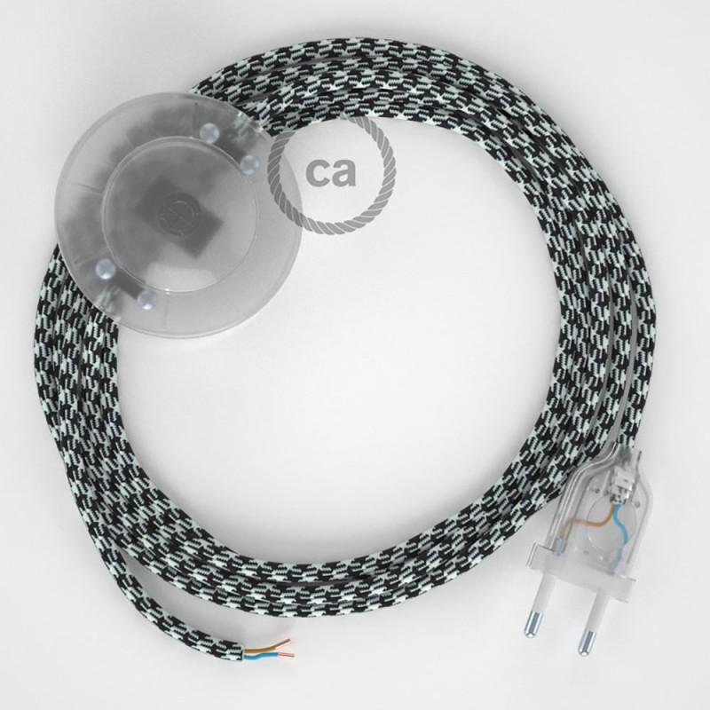 Ledningssæt med fodkontakt, RP04 Hvid-Sort Tofarvet viskose 3 m. Vælg farve på kontakt og stik.