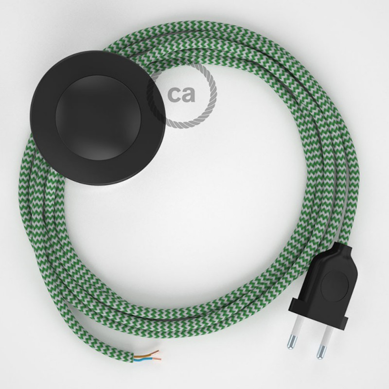 Ledningssæt med fodkontakt, RZ06 Grøn ZigZag viskose 3 m. Vælg farve på kontakt og stik.