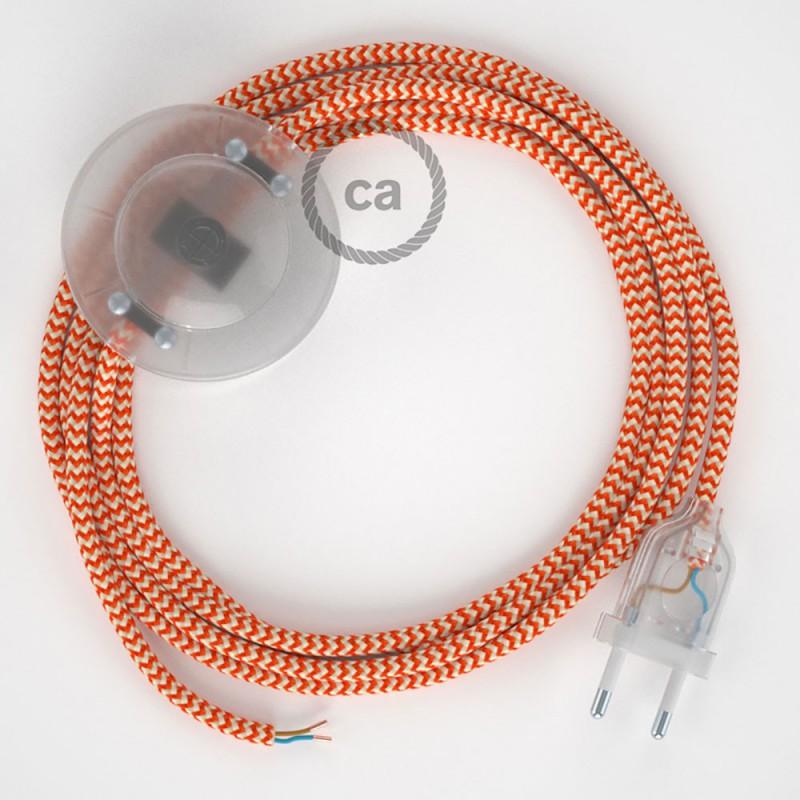 Ledningssæt med fodkontakt, RZ15 Orange ZigZag viskose 3 m. Vælg farve på kontakt og stik.