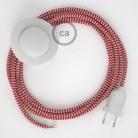 Ledningssæt med fodkontakt, RZ09 Rød ZigZag viskose 3 m. Vælg farve på kontakt og stik.