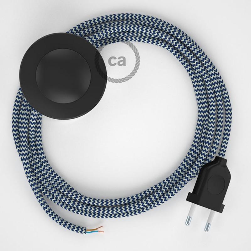 Ledningssæt med fodkontakt, RZ12 Blå ZigZag viskose 3 m. Vælg farve på kontakt og stik.