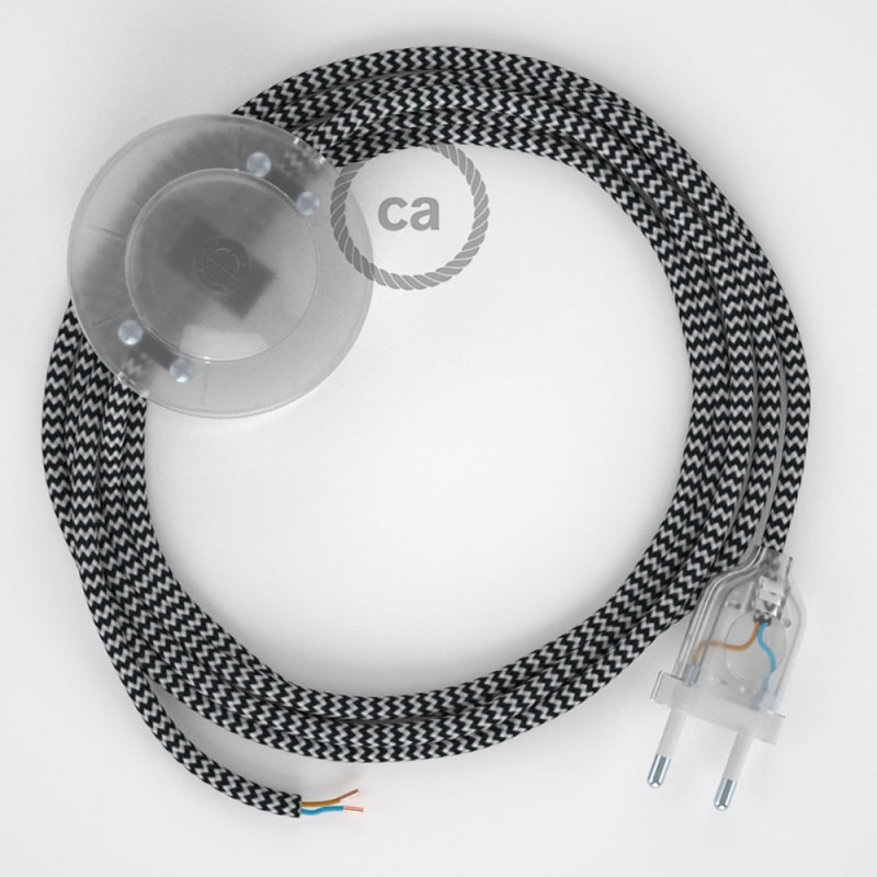 Ledningssæt med fodkontakt, RZ04 Sort ZigZag viskose 3 m. Vælg farve på kontakt og stik.
