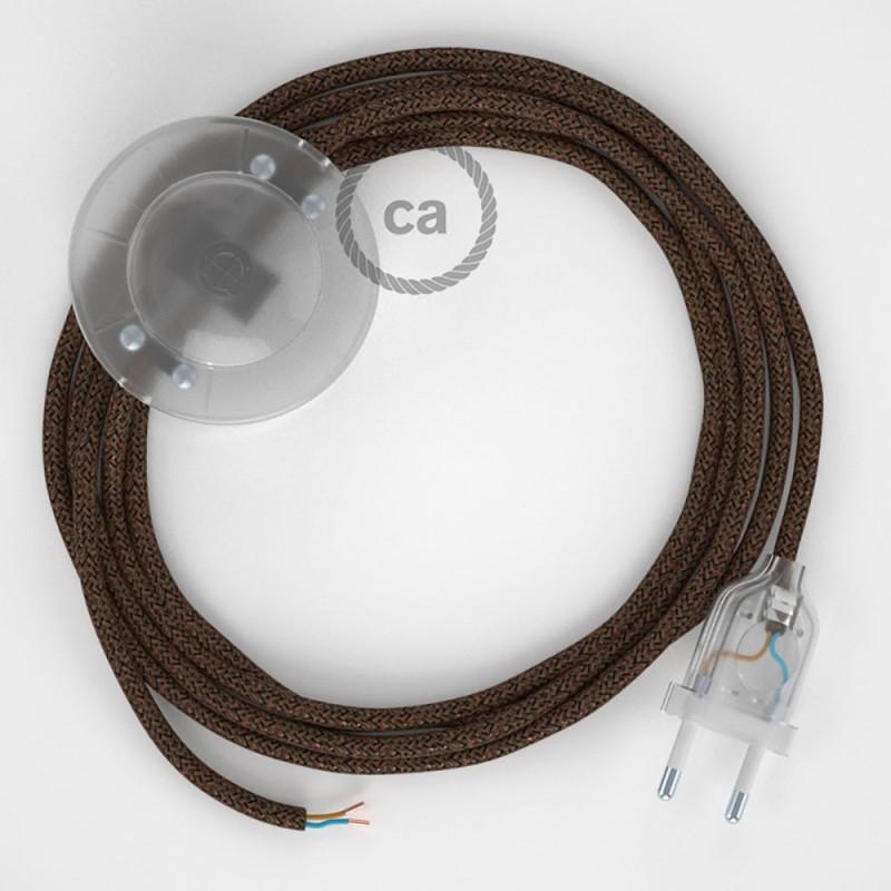 Ledningssæt med fodkontakt, RL13 Glinsende Brun viskose 3 m. Vælg farve på kontakt og stik.