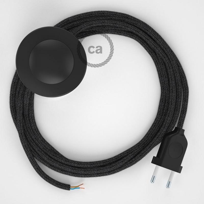 Ledningssæt med fodkontakt, RN03 Antracit Naturligt hør 3 m. Vælg farve på kontakt og stik.