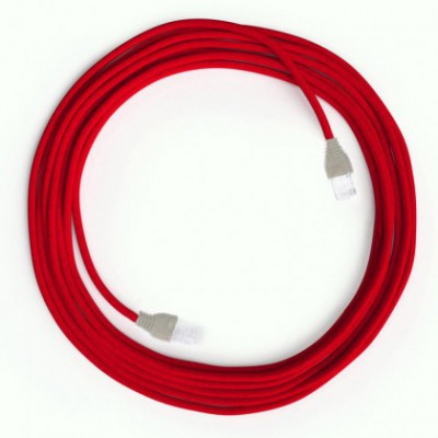 LAN Ethernet-kabel Cat 5e med RJ45 stik - Viskosestof RM09 Rød
