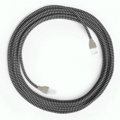 LAN Ethernet-kabel Cat 5e med RJ45 stik - Viskosestof RZ04 ZigZag Sort