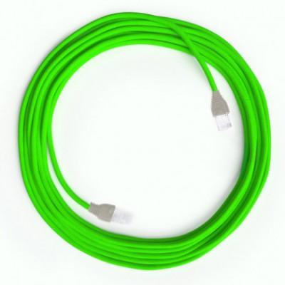LAN Ethernet-kabel Cat 5e med RJ45 stik - Viskosestof RF06 Neon Grøn