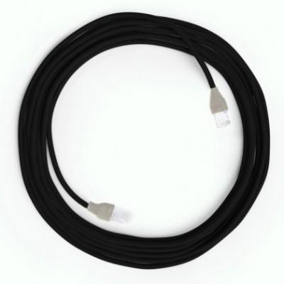 LAN Ethernet-kabel Cat 5e med RJ45 stik - Viskosestof RM04 Sort