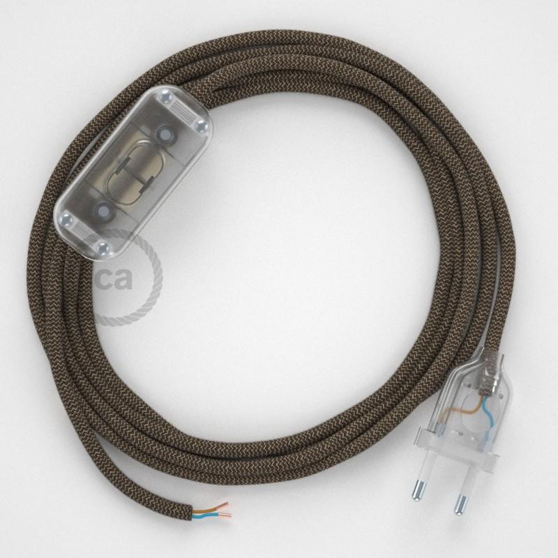 Ledningssæt, RD73 Bark ZigZag Bomuld og Naturlig hør 1,80 m. Vælg farve på kontakt og stik.