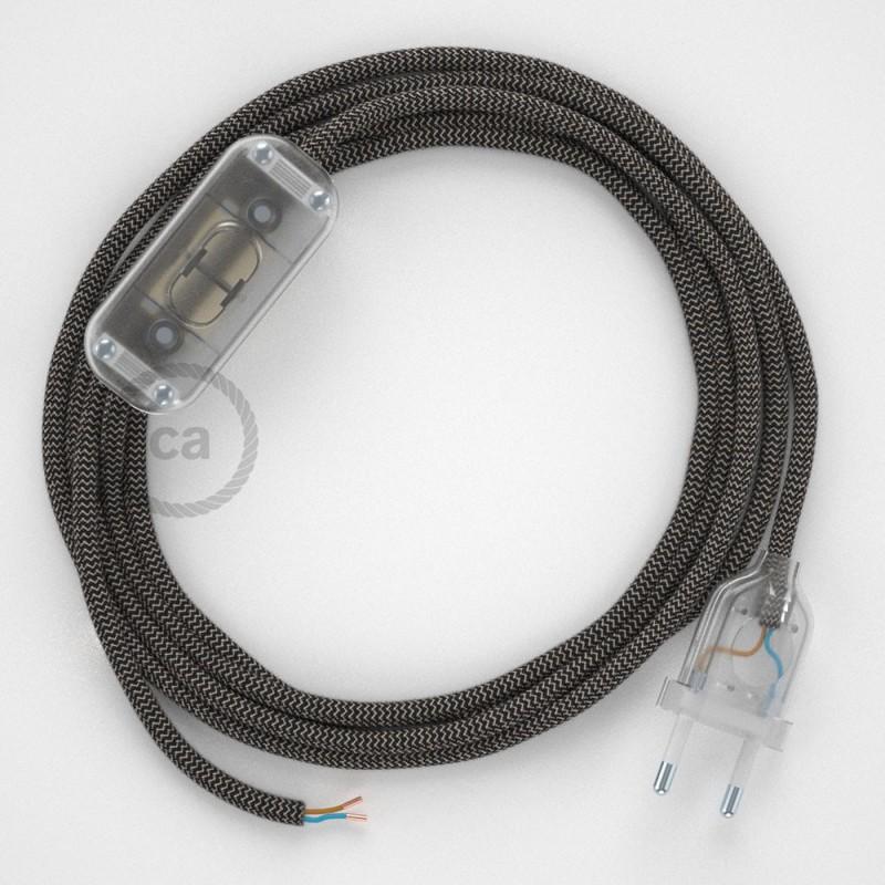 Ledningssæt, RD74 Antracit ZigZag Bomuld og Naturlig hør 1,80 m. Vælg farve på kontakt og stik.