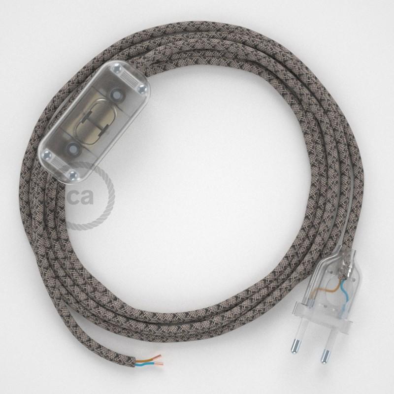 Ledningssæt, RD64 Antracit Diamond Bomuld og Naturlig hør 1,80 m. Vælg farve på kontakt og stik.