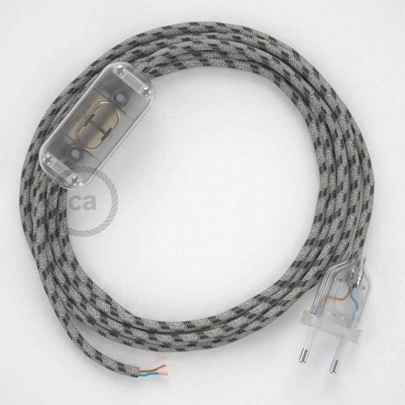 Ledningssæt, RD54 Antracit Striber Bomuld og Naturlig hør 1,80 m. Vælg farve på kontakt og stik.