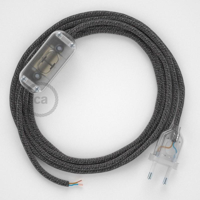 Ledningssæt, RS81 Sort Bomuld og Naturlig hør 1,80 m. Vælg farve på kontakt og stik.