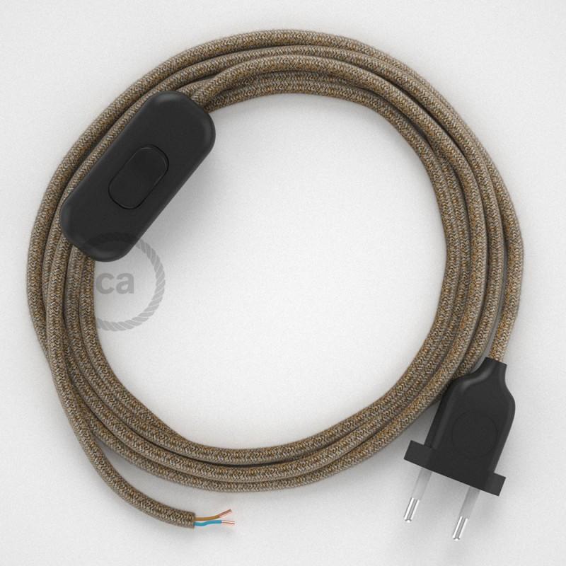 Ledningssæt, RS82 Brun Bomuld og Naturlig hør 1,80 m. Vælg farve på kontakt og stik.