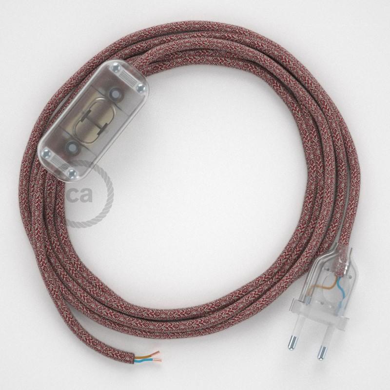 Ledningssæt, RS83 Rød Bomuld og Naturlig hør 1,80 m. Vælg farve på kontakt og stik.