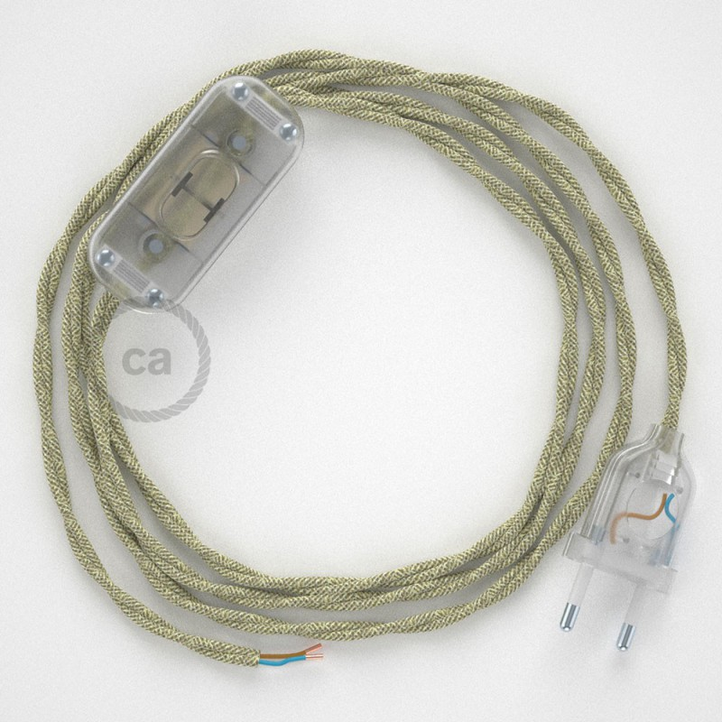 Ledningssæt, TN01 Naturlig Neutral hør 1,80 m. Vælg farve på kontakt og stik.