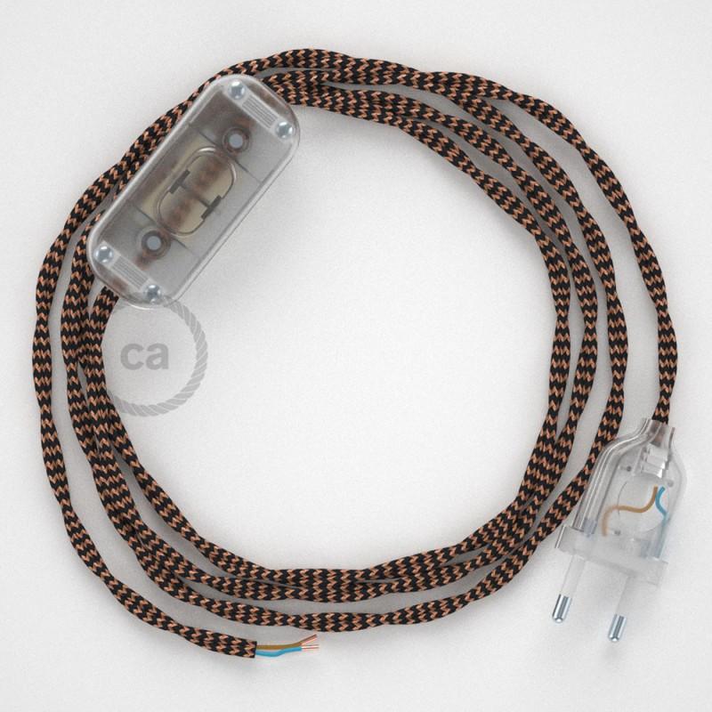 Ledningssæt, TZ22 Sort og Whisky Viskose 1,80 m. Vælg farve på kontakt og stik.
