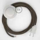 Ledningssæt med fodkontakt, RD73 Bark ZigZag Bomuld og Naturligt hør 3 m. Vælg farve på kontakt og stik.