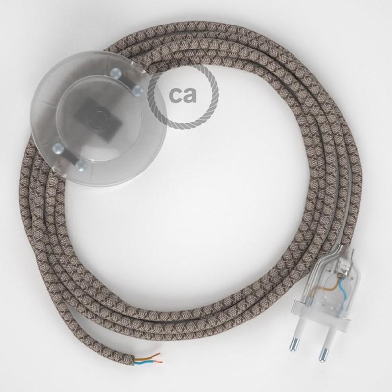Ledningssæt med fodkontakt, RD63 Bark Diamond Bomuld og Naturligt hør 3 m. Vælg farve på kontakt og stik.