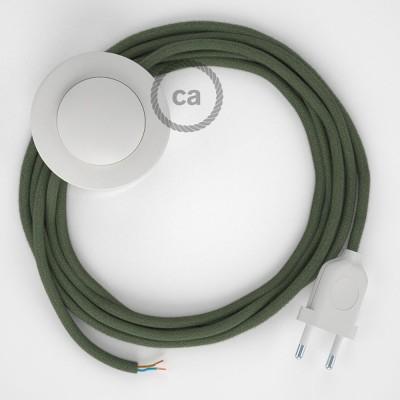 Ledningssæt med fodkontakt, RC63 Grøngrå bomuld 3 m. Vælg farve på kontakt og stik.