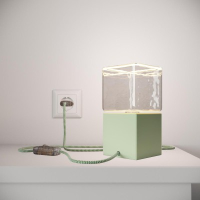 Posaluce Cubetto Color, painted wooden table lamp complete with textile cable, switch and 2-pole plug