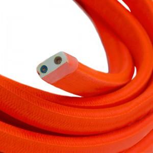 Ledning til Lyskæder, beklædt med Viskosestof Orange Fluo CF15