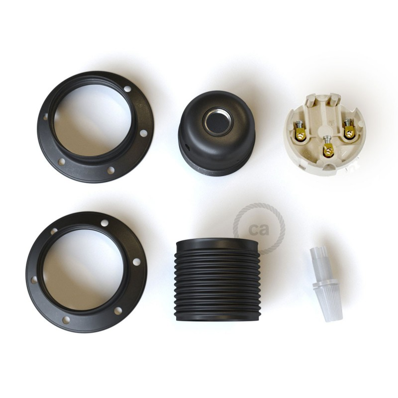 E27 metal lamp holder kit with double ring nut for lampshade