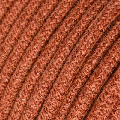 Round electric Cable covered in Plain Orange Clay RN27 Jute