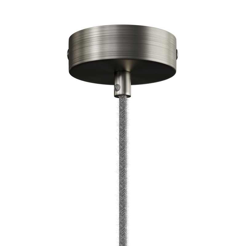 Pendant lamp complete with textile cable and double Tub-E14 wood and metal shade - Made in Italy