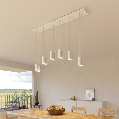 6-light pendant lamp with 675 mm rectangular XXL Rose-One, featuring fabric cable and metal Tub-E14 lampshade