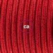 Ledningssæt, RL09 Glinsende Rød Viskose 1,80 m. Vælg farve på kontakt og stik.