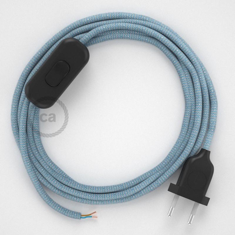Ledningssæt, RD75 Blå Steward ZigZag Bomuld og Naturlig hør 1,80 m. Vælg farve på kontakt og stik.