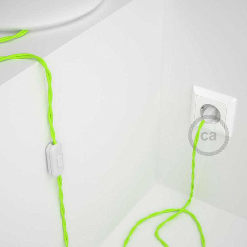 Ledningssæt, TF10 Neon Gul Viskose 1,80 m. Vælg farve på kontakt og stik.
