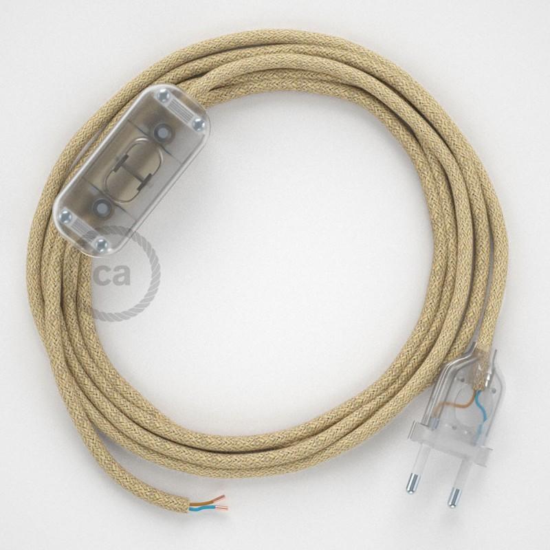 Ledningssæt, RN06 Jute 1,80 m. Vælg farve på kontakt og stik.